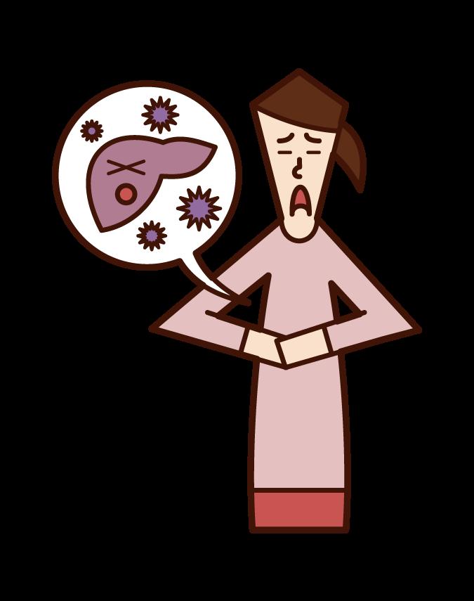 ウィルス性肝炎(女性)のイラスト