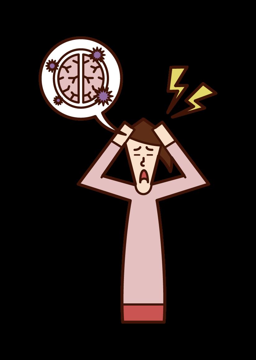 脳炎(女性)のイラスト