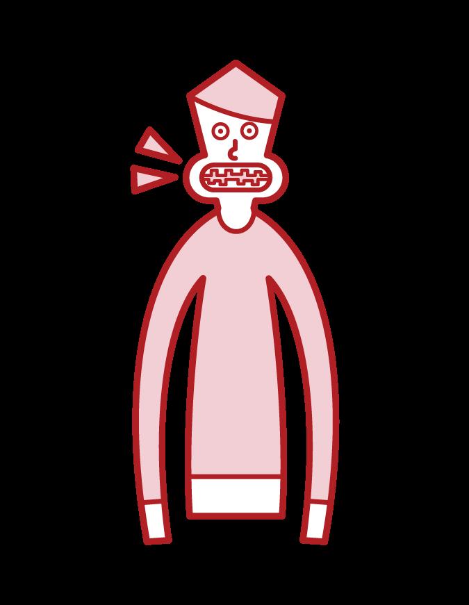 불법 교합 (남성)의 그림