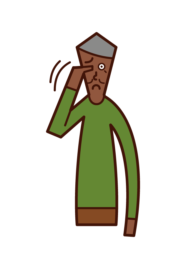 Illustration of itchy eyes (male)