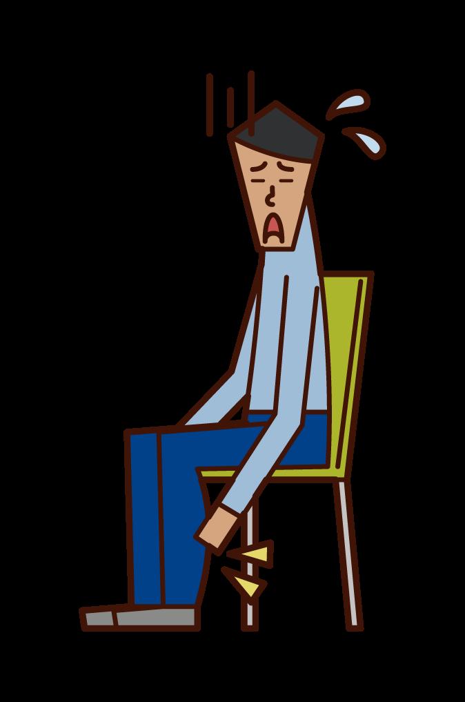 下肢静脈瘤・エコノミー症候群・むくみ(男性)のイラスト
