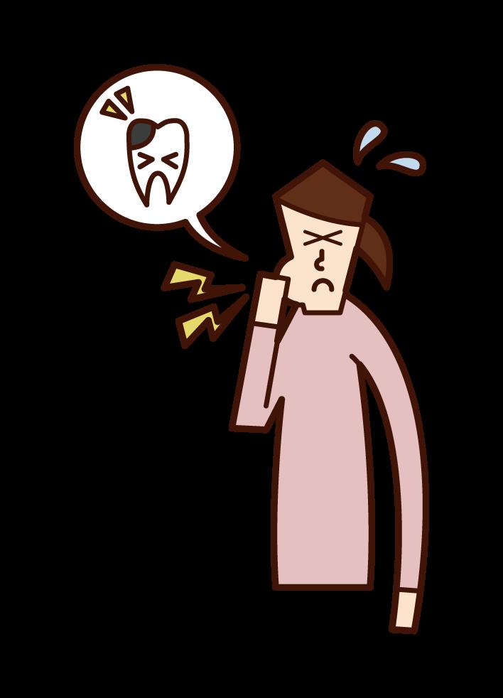 蛀牙(女性)插圖