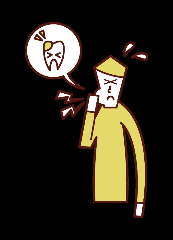 虫歯(男性)のイラスト