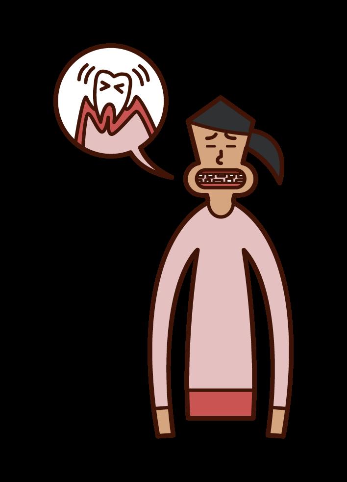 歯周病(女性)のイラスト