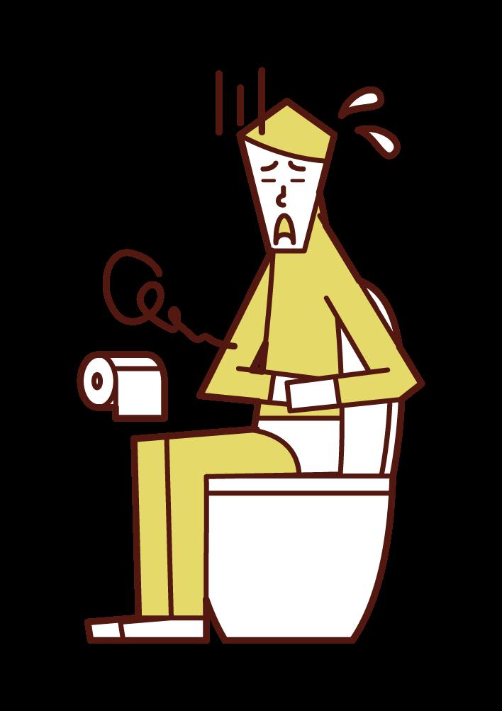 腹痛・過敏性腸症候群(男性)のイラスト