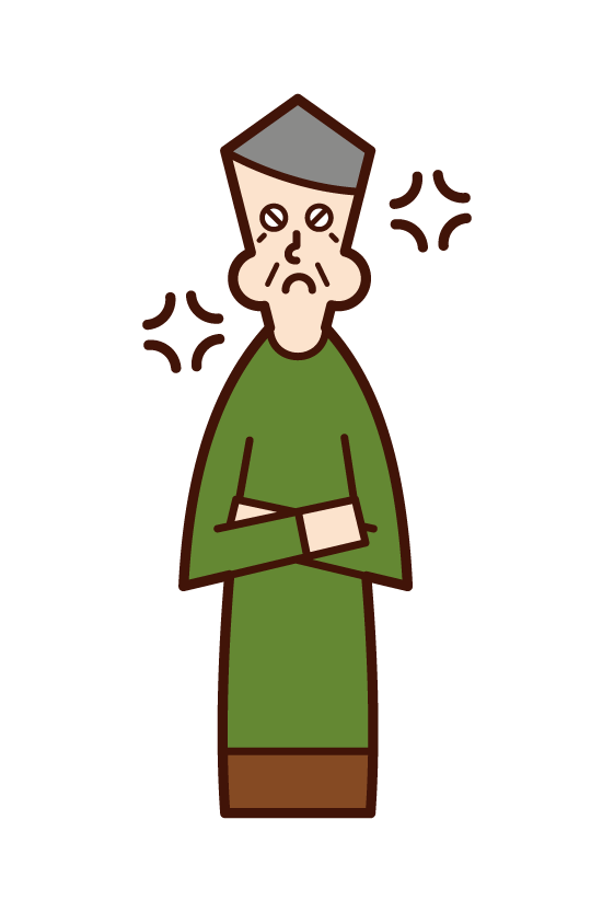 Illustration of an angry elderly man with dementia