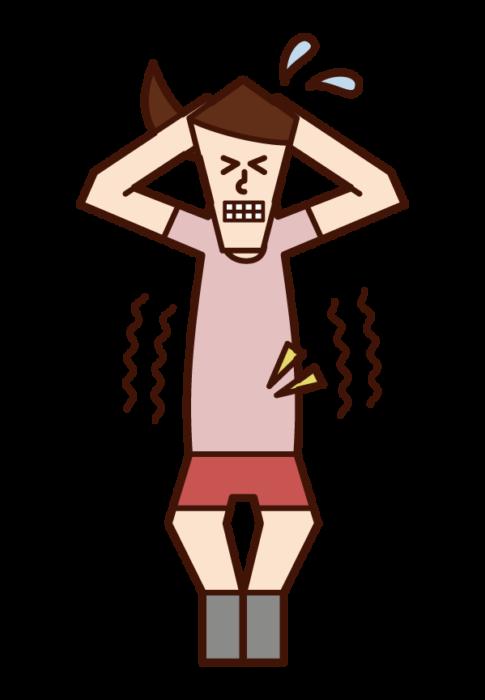 腹筋を鍛える人(女性)のイラスト