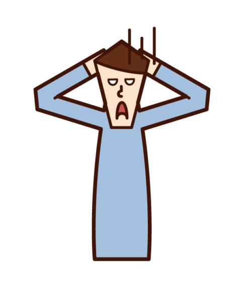 Illustration of a man who despairs with his head in his arms