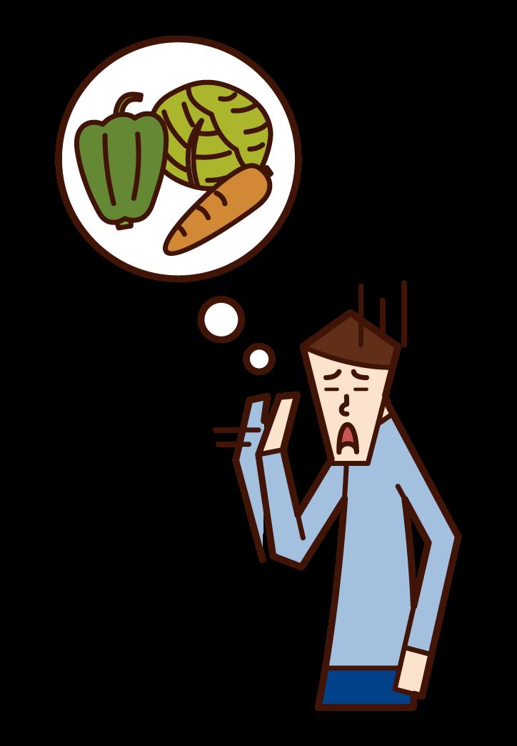 不喜歡蔬菜的人(男性)的插圖