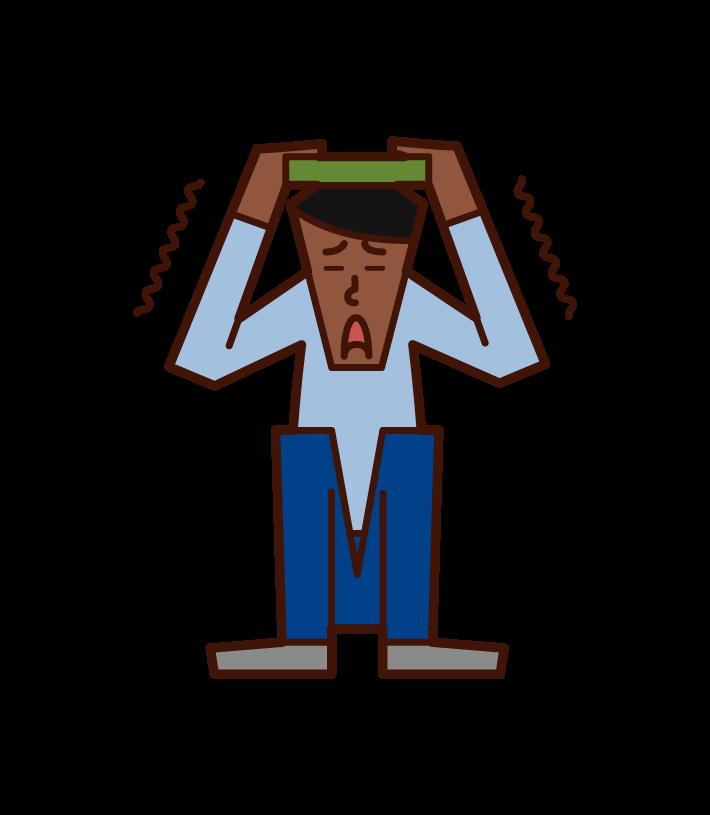 地震から身を守る人(男性)のイラスト