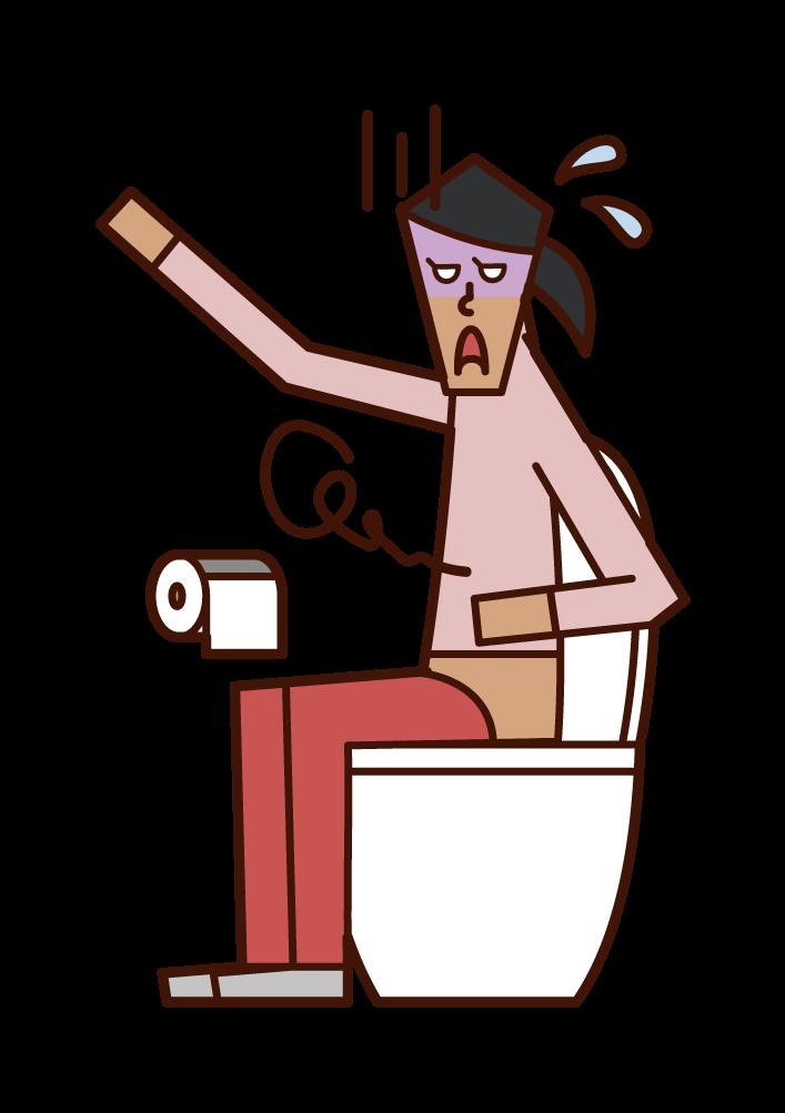 Illustration of abdominal pain, gastroenteritis, food poisoning (woman)