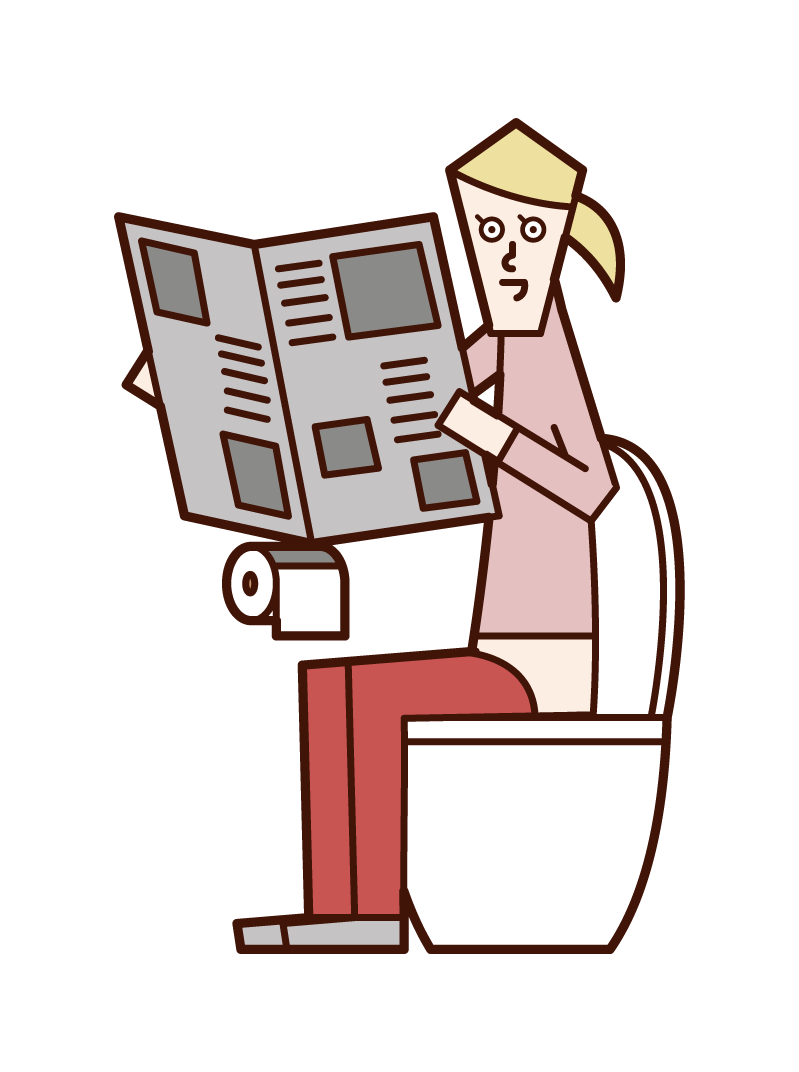Illustration of a woman reading a newspaper in the toilet