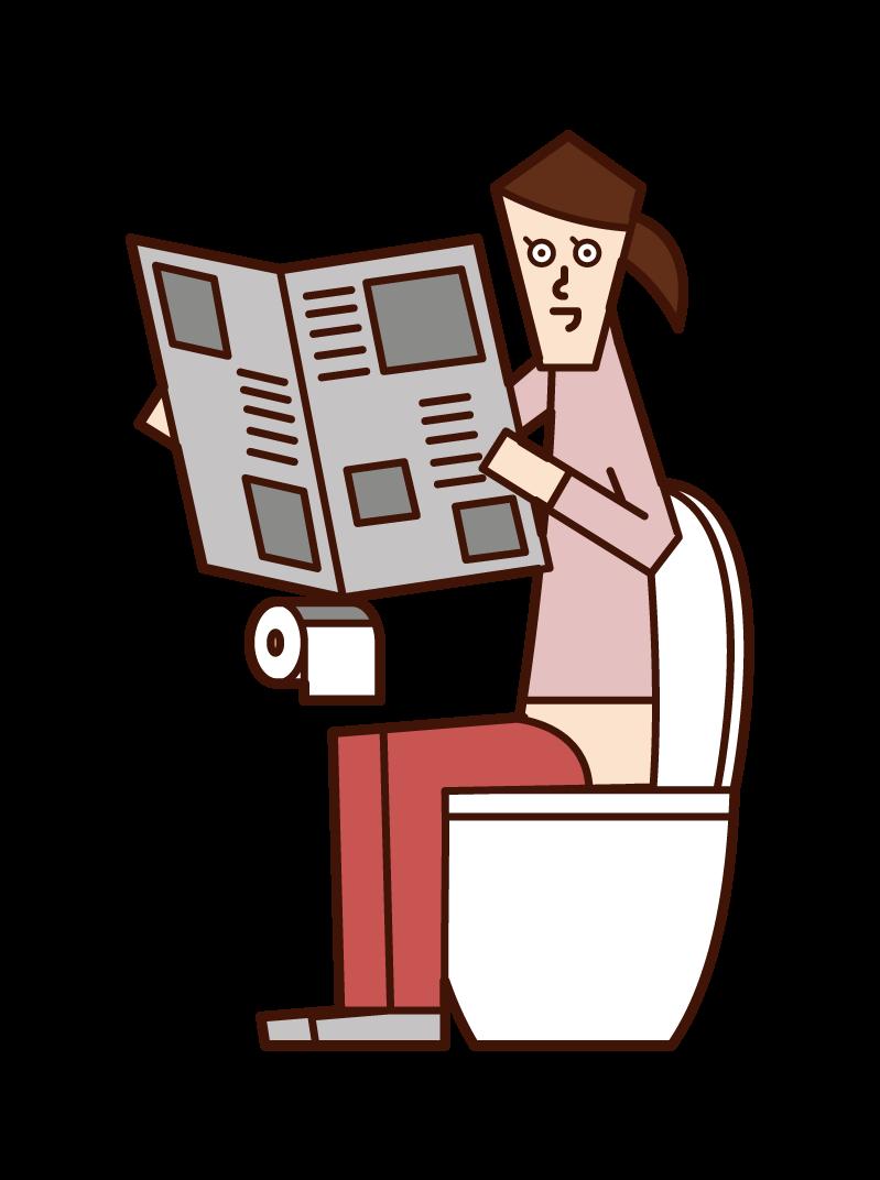 화장실에서 신문을 읽는 사람 (여성)의 그림