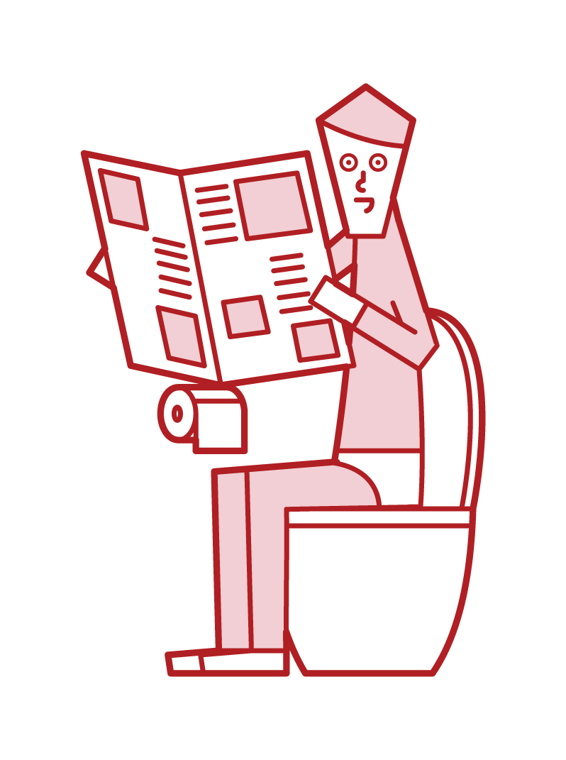 Illustration of a man reading a newspaper in the toilet