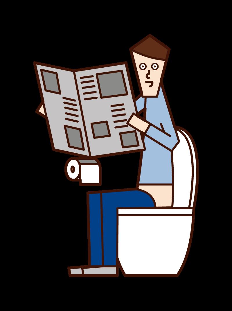 トイレで新聞を読む人(男性)のイラスト