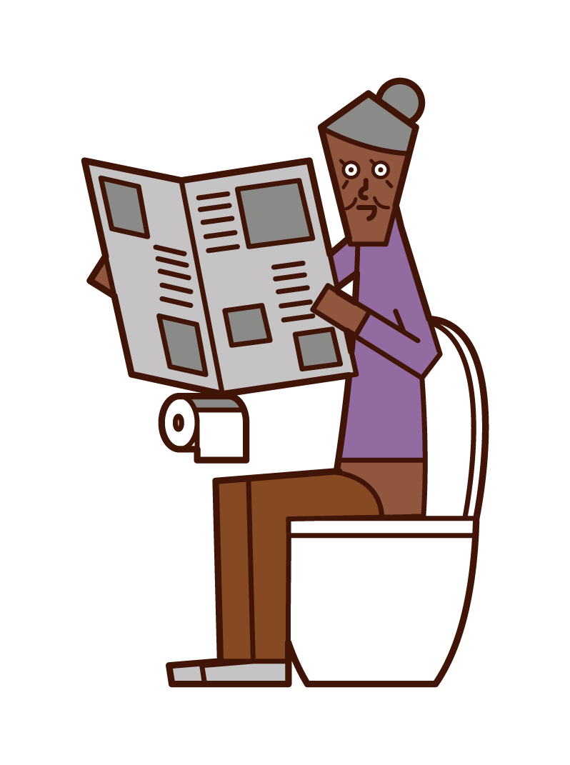 Illustration of an old man (woman) reading a newspaper in the toilet