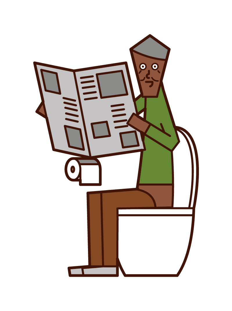 在廁所裡看報紙的老人(男性)的插圖