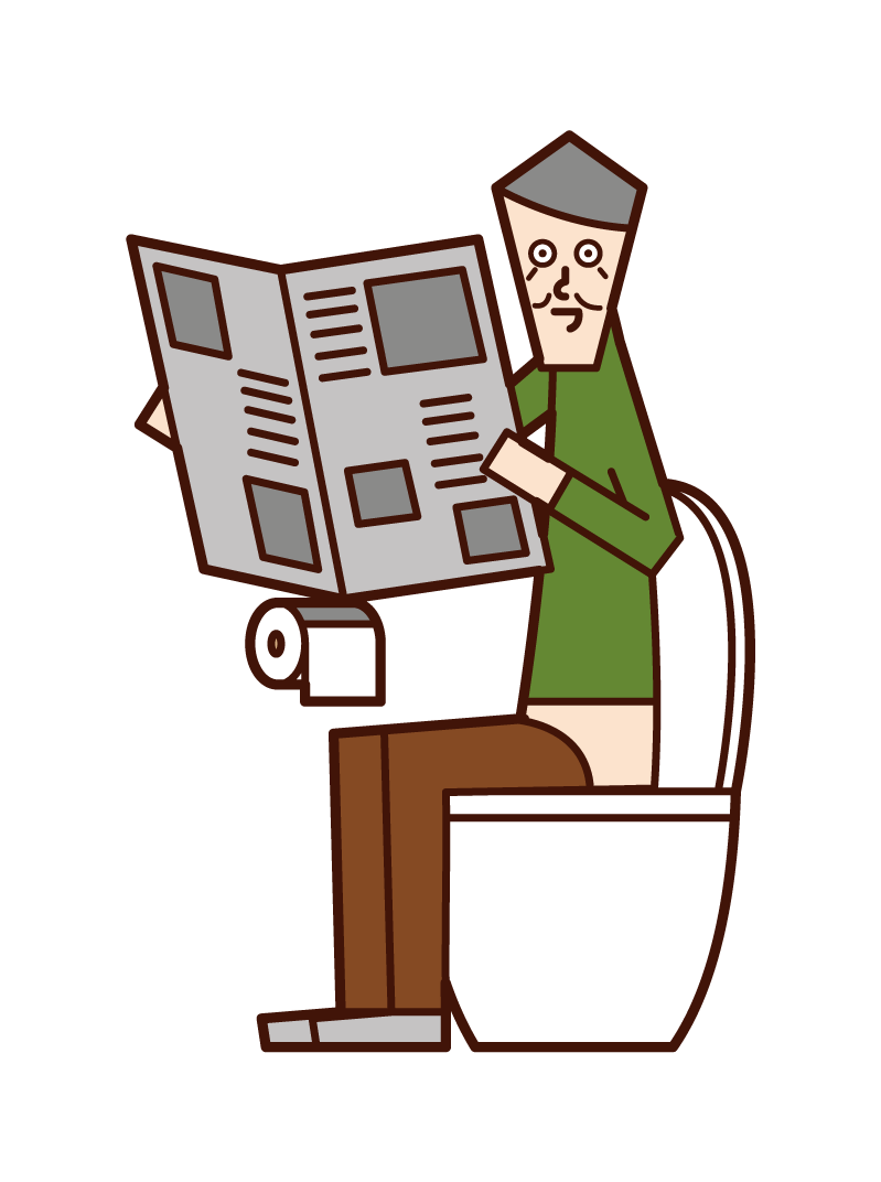 Illustration of an old man reading a newspaper in the toilet
