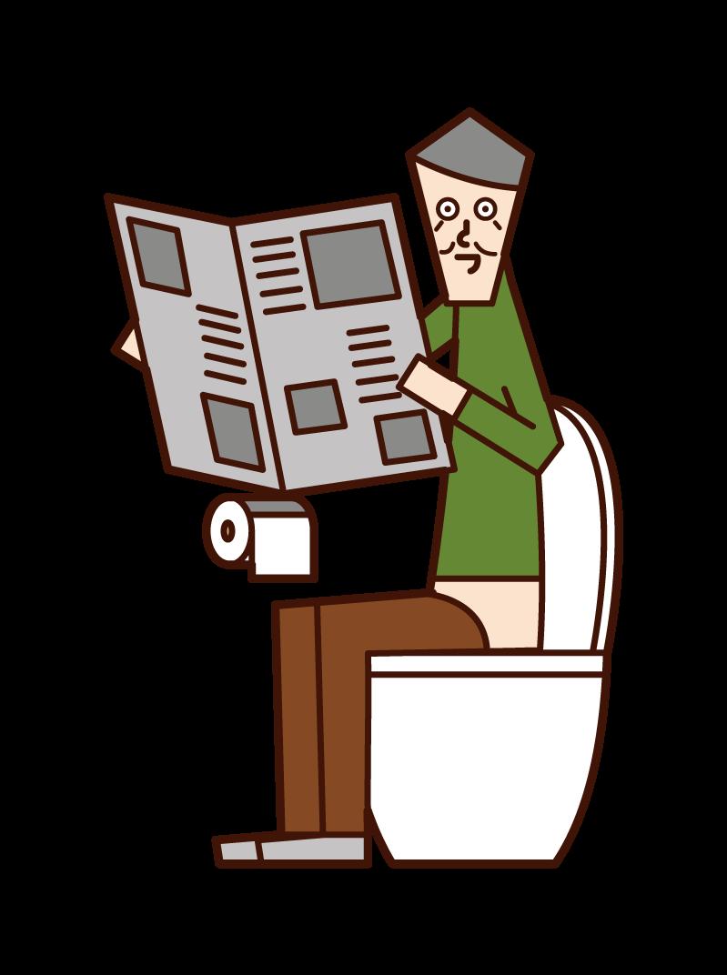 トイレでスマートフォンを操作する人(男性)のイラスト