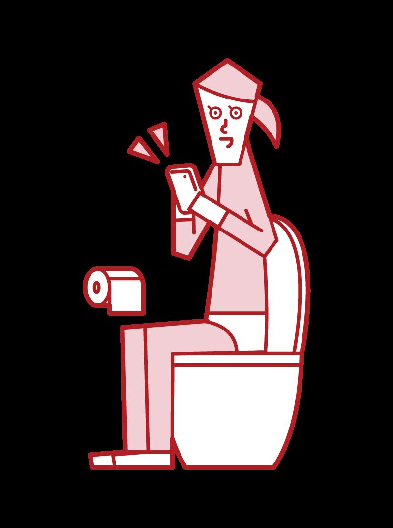 トイレでスマートフォンを操作する人(女性)のイラスト