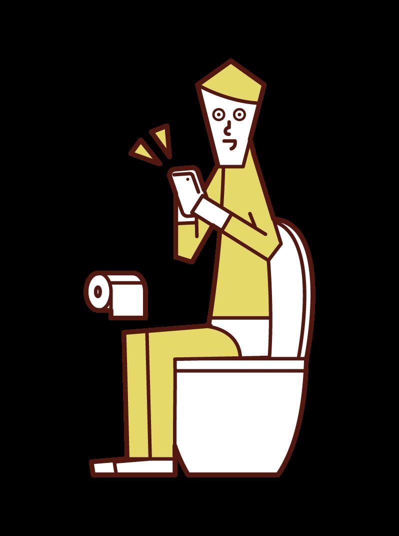 在廁所裡操作智能手機的人(男性)的插圖