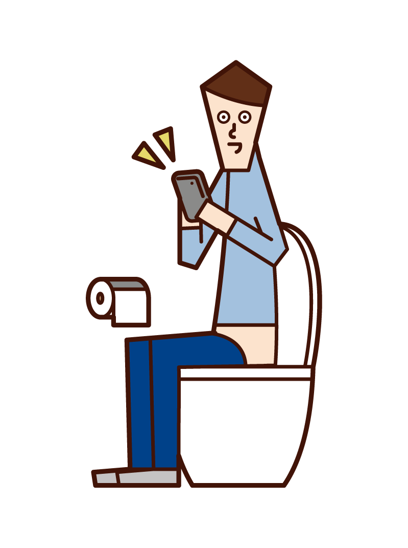 Illustration of a man operating a smartphone in the toilet