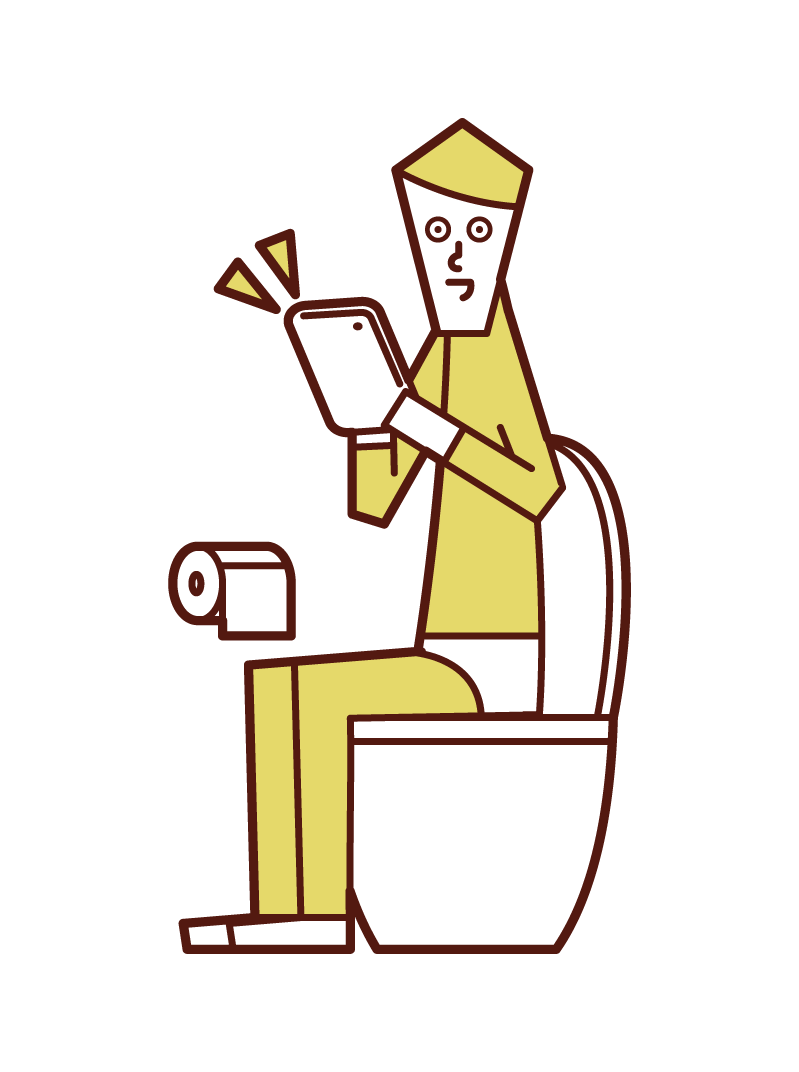 Illustration of a man operating a tablet in the toilet