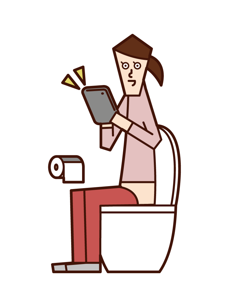 Illustration of a woman operating a tablet in the toilet