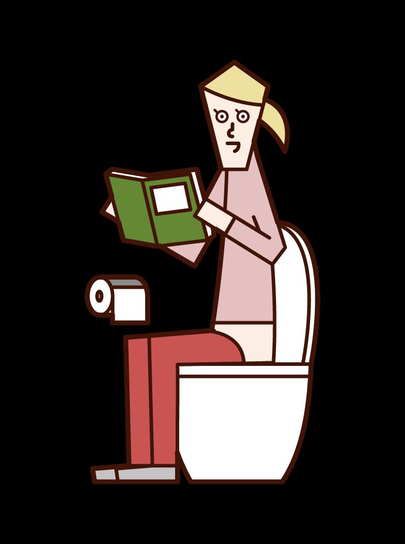 トイレで本を読む人(女性)のイラスト