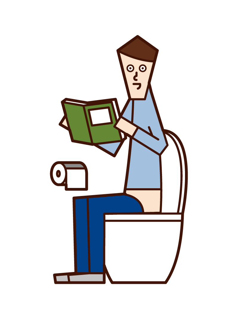 Illustration of a man reading a book in the toilet