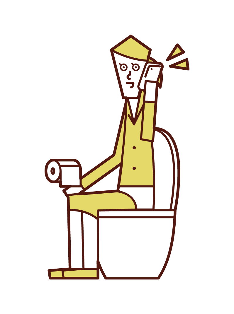 トイレで電話する人(女性)のイラスト