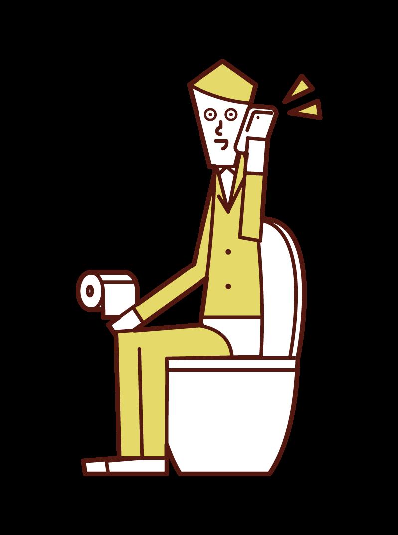 トイレで電話する人(男性)のイラスト