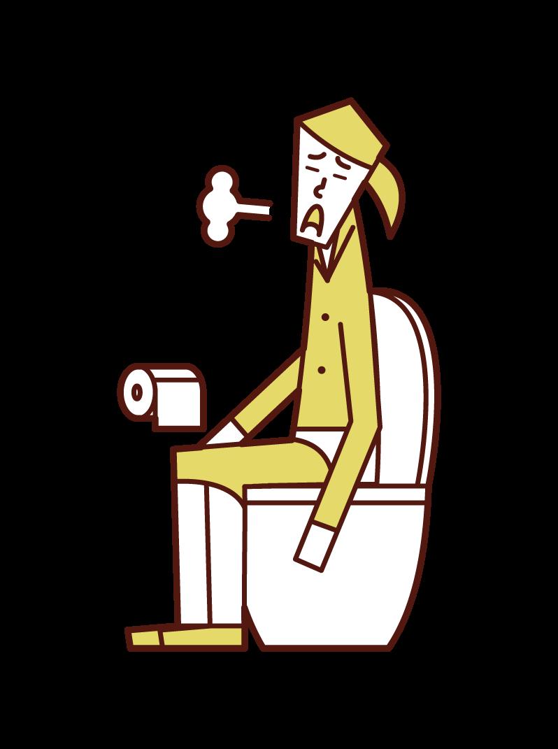 トイレでため息をつく人(女性)のイラスト