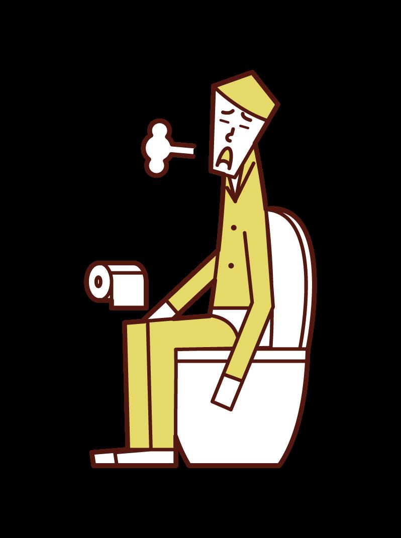 화장실에서 한숨을 쉬는 사람 (남성)의 그림
