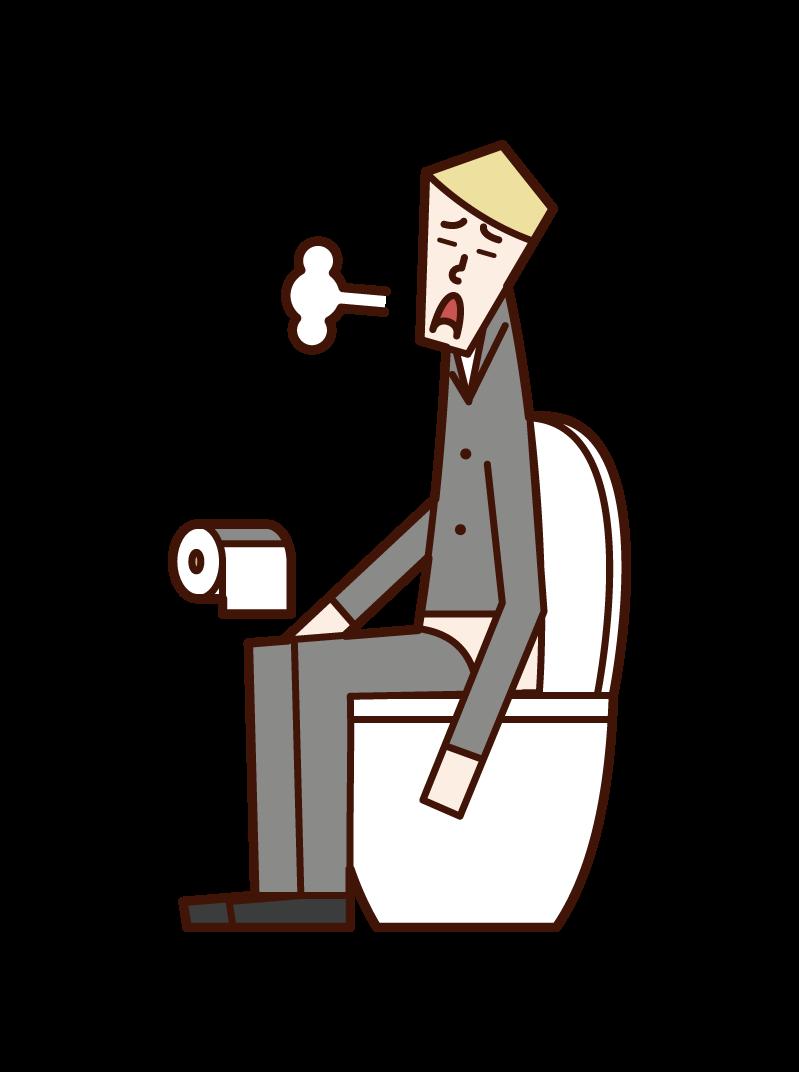 トイレでため息をつく人(男性)のイラスト