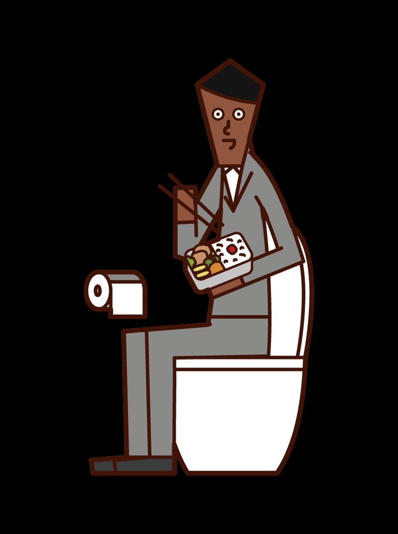 화장실에서 먹는 사람 (남성)의 그림