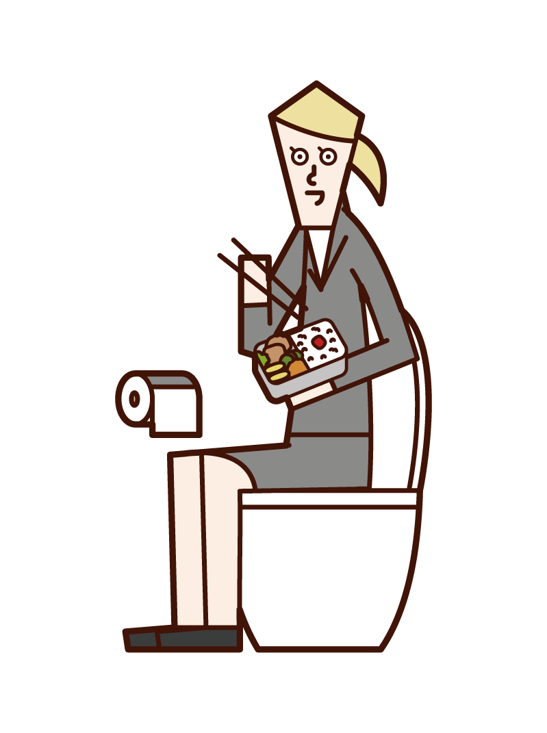 Illustration of a woman eating in the toilet