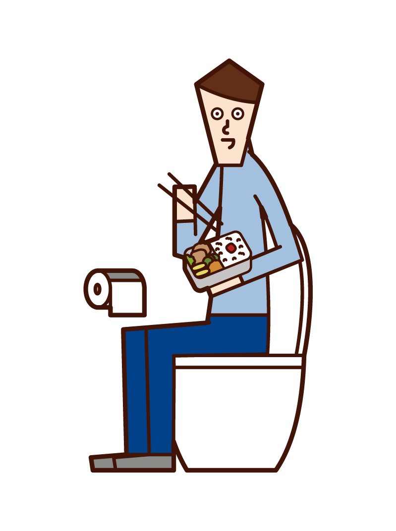 Illustration of a man eating in the toilet