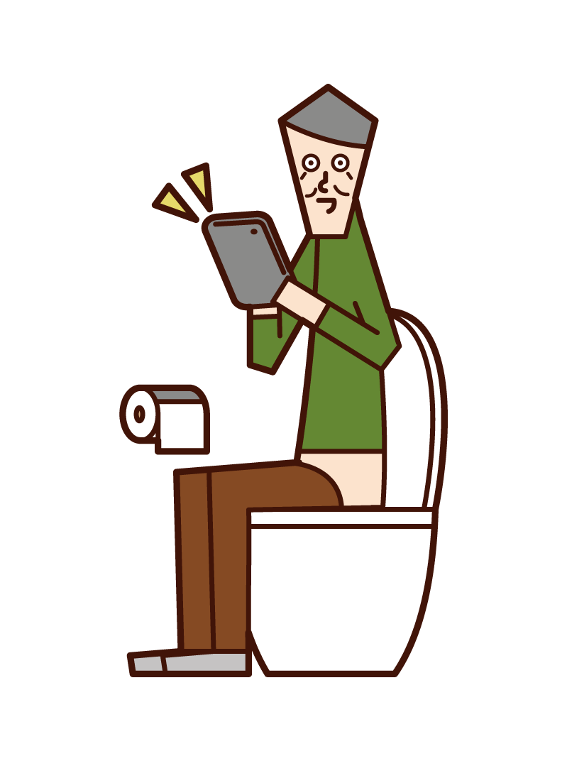 Illustration of an old man operating a tablet in a toilet