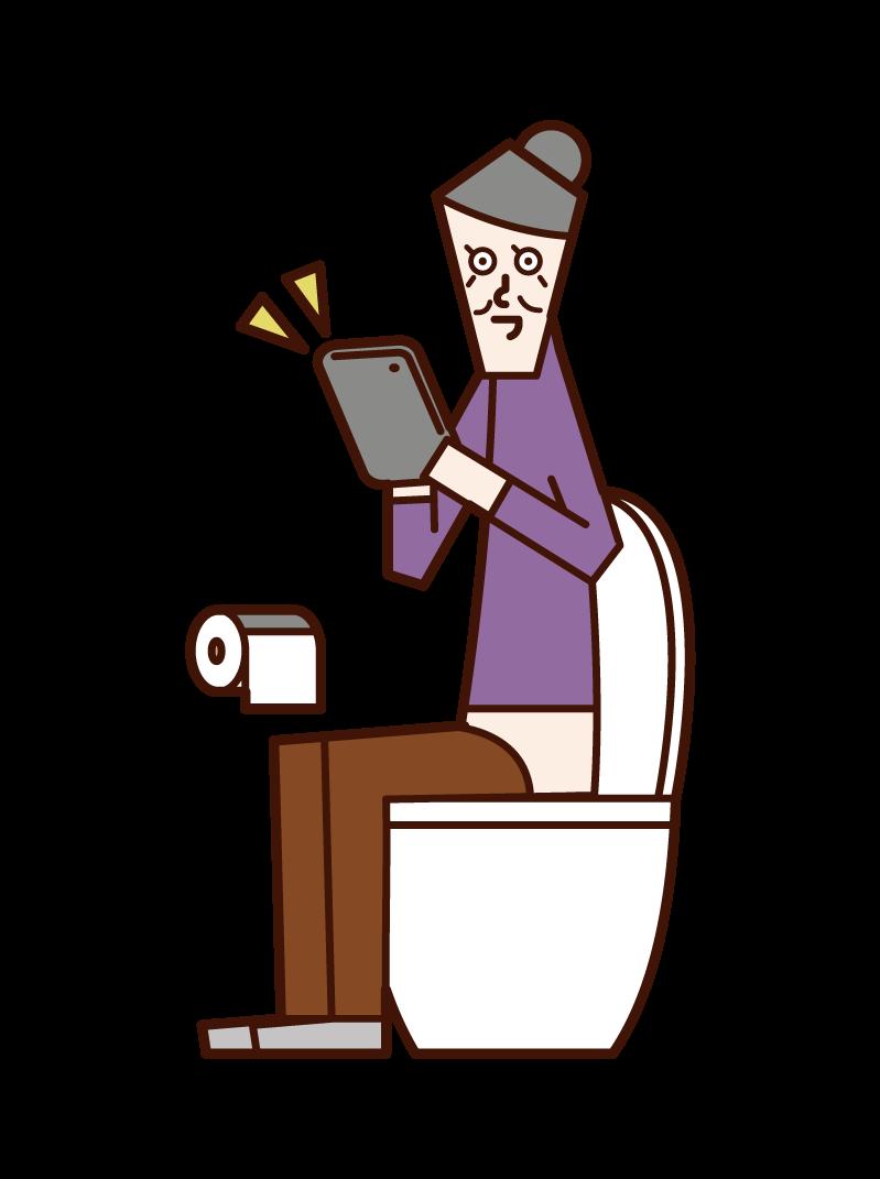 화장실에서 태블릿을 조작하는 노인 (여성)의 그림