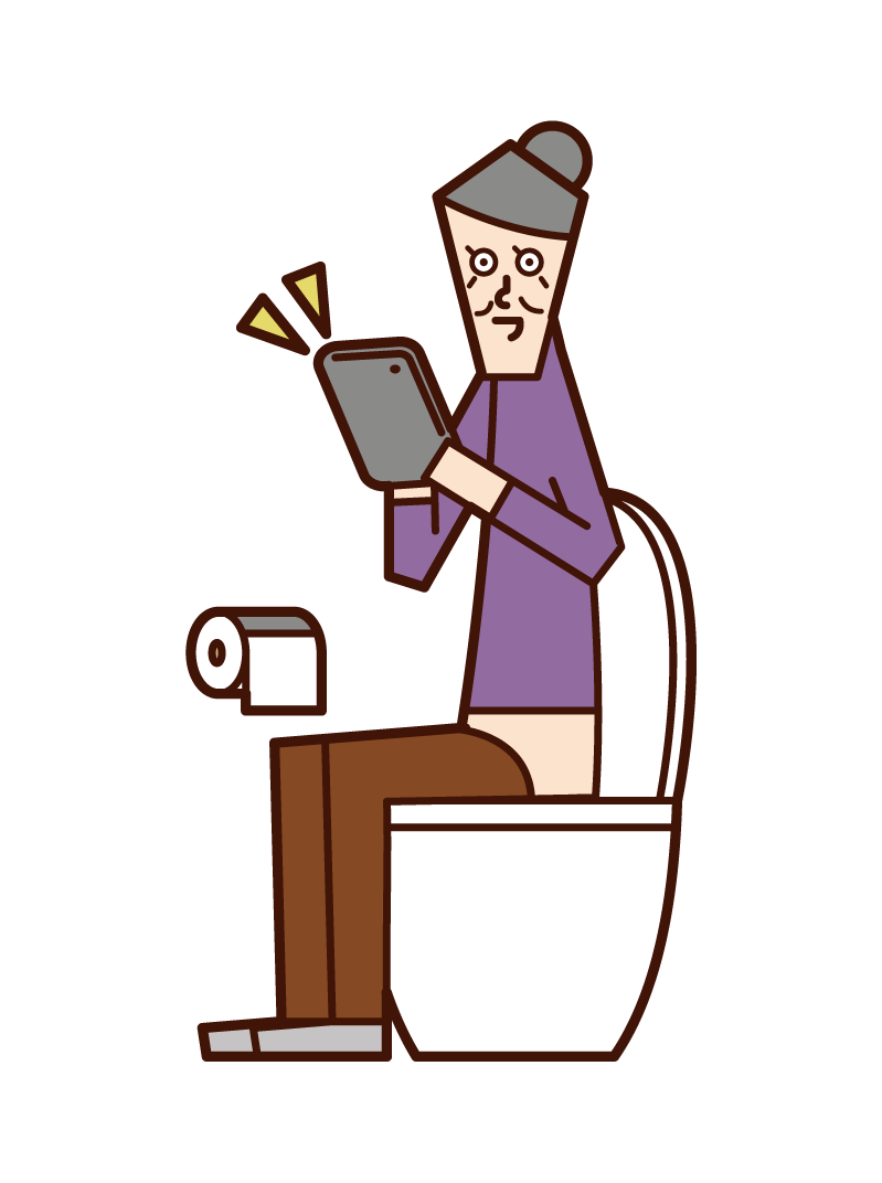 Illustration of an old man (woman) operating a tablet in a toilet