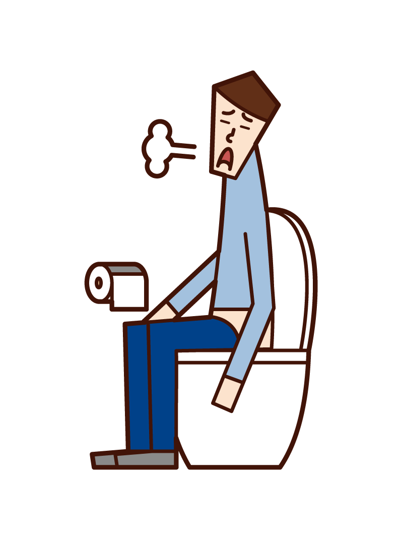 Illustration of a man sighing in the toilet