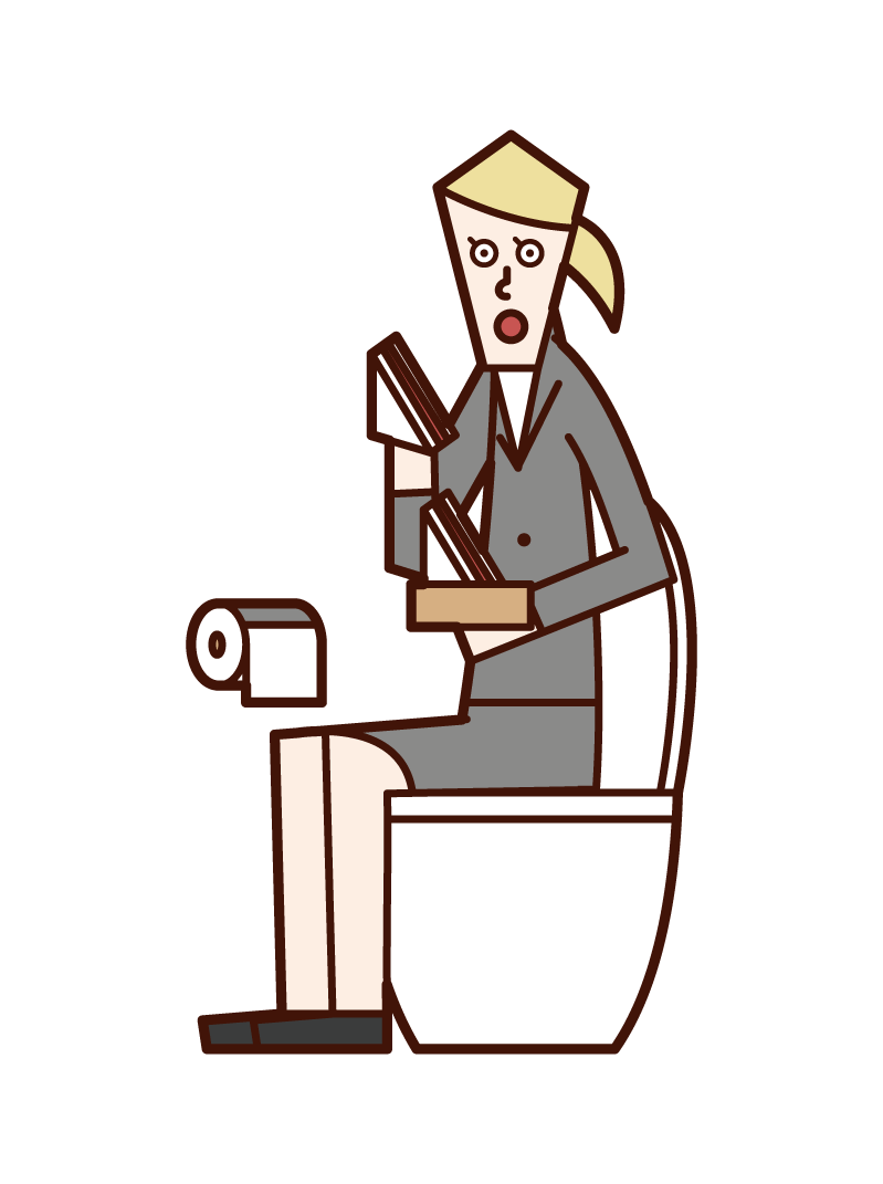 Illustration of a woman eating a sandwich in the toilet