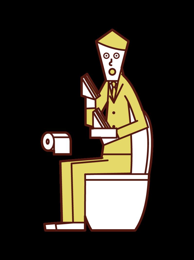トイレでサンドイッチを食べる人(男性)のイラスト