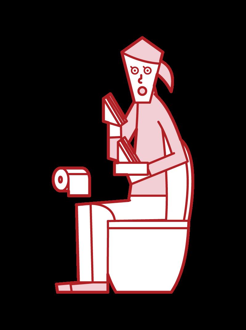 トイレでサンドイッチを食べる人(女性)のイラスト