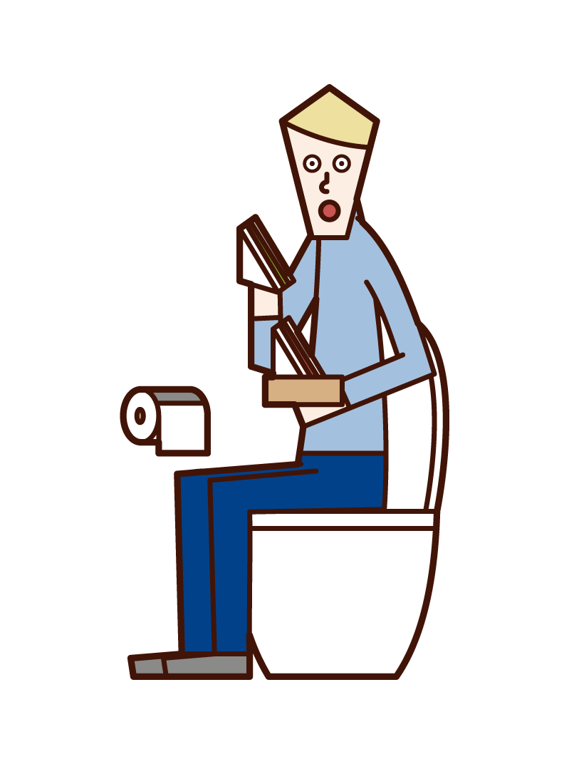 Illustration of a man eating a sandwich in the toilet