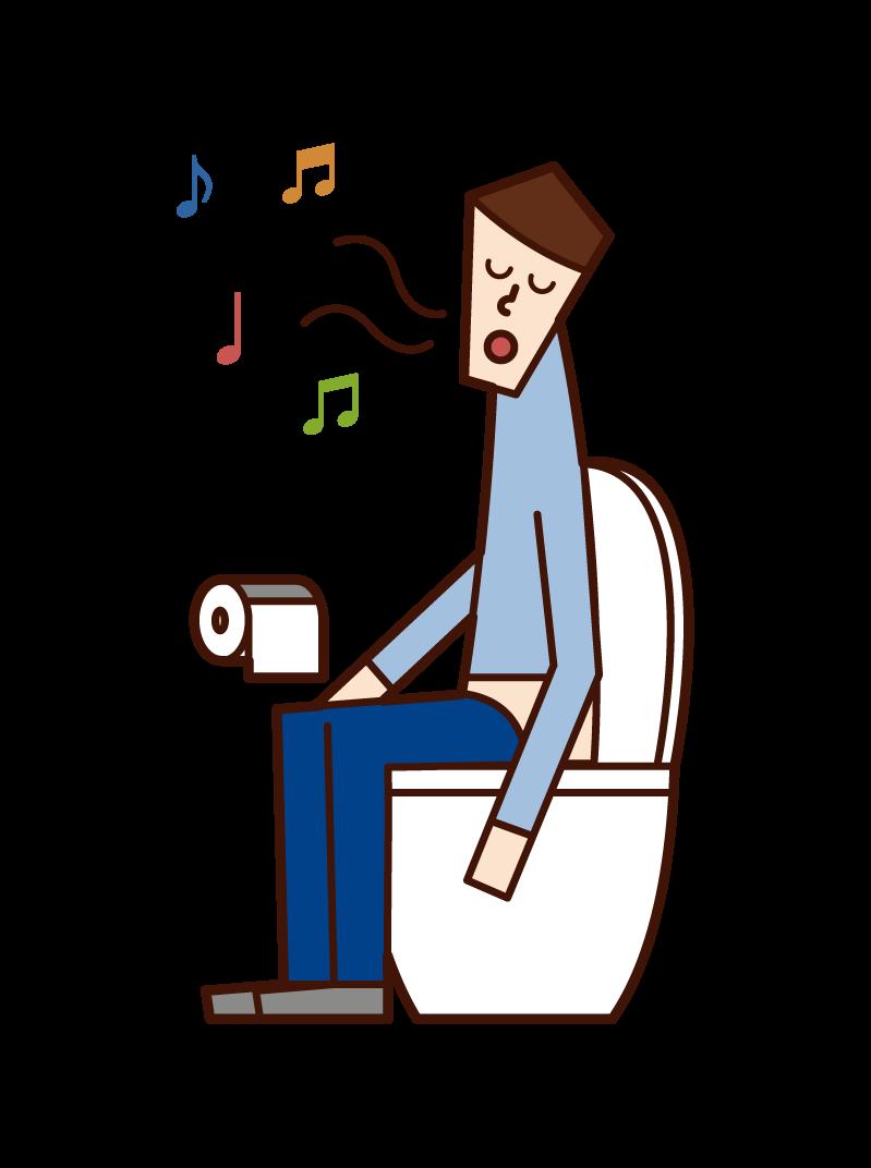 トイレで歌う人(男性)のイラスト