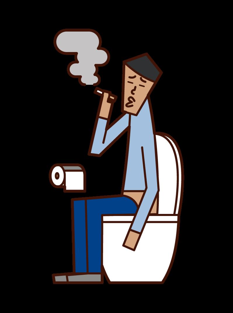 화장실에서 담배를 피우는 사람 (남성)의 그림