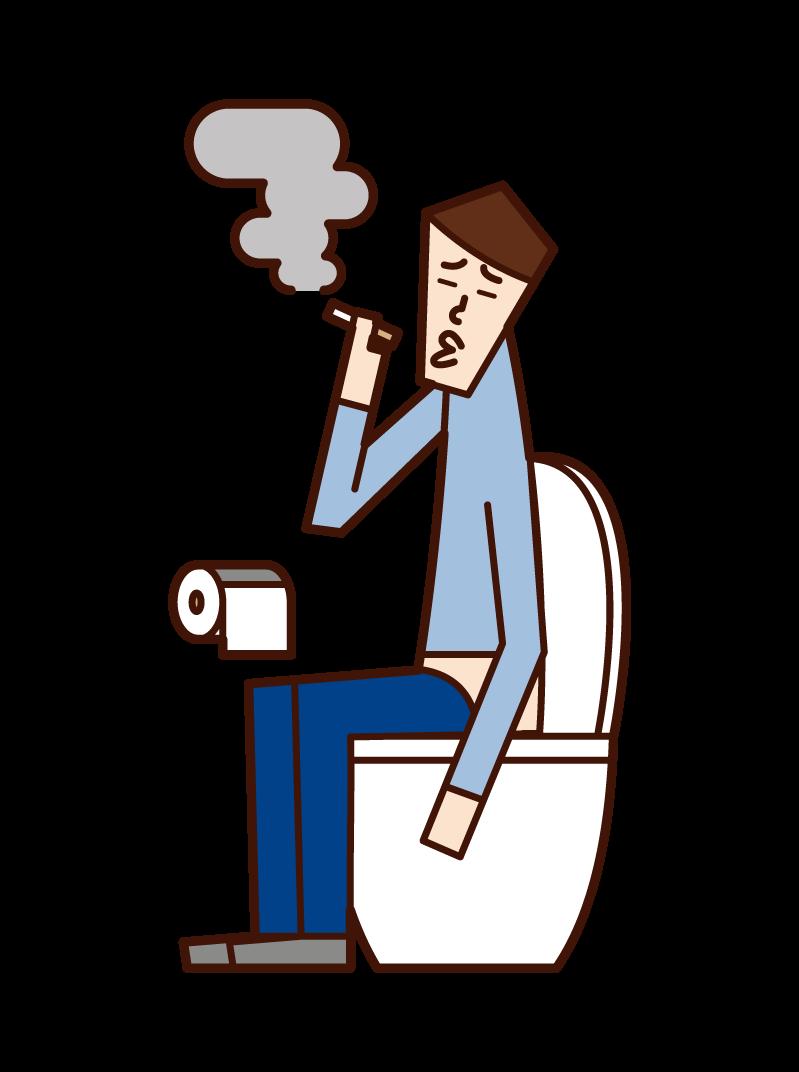 トイレでタバコを吸う人(男性)のイラスト