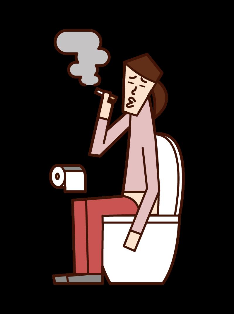 トイレでタバコを吸う人(女性)のイラスト